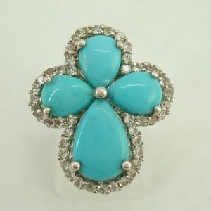 Sterling Colleen Lopez Genuine Turquoise Ring HSN